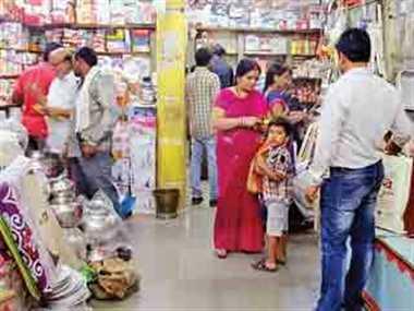 Dhanteras market Diwali festival shopping crowded