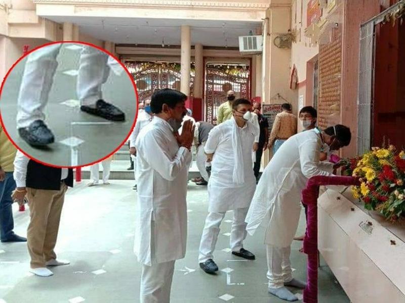 मध्य प्रदेश के पूर्व मंत्री जीतू पटवारी फिर विवादों में घिरे, अब मंदिर में जूते पहनकर जाने पर बवाल