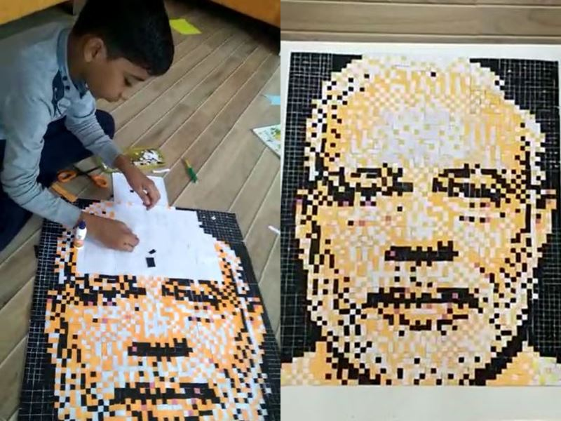 11 साल के आरव ने 3,564 कागज के टुकड़ों से बनाई पीएम नरेंद्र मोदी की तस्वीर