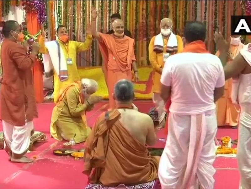 Ayodhya Ram Mandir Bhumi Pujan Images: राम मंदिर का भूमि पूजन हुआ और आधारशिला रखी गई, देखें Photos, Videos