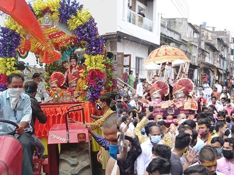 Shiv Dola Khargone 2020 : शाही ठाठ से सुसज्जित पालकी विराजित होकर नगर भ्रमण पर निकले भगवान सिद्धनाथ