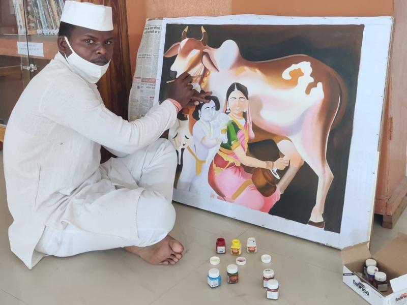 Bilaspur News: सलाखों के पीछे की बंदिशों के बीच वाल पेंटर बना चित्रकार, देखें तस्वीरें