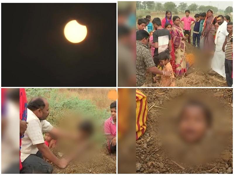 Surya Grahan के दिन दिव्यांग बच्चे को गले तक गड्ढे में दबाया था, सरकार को नोटिस