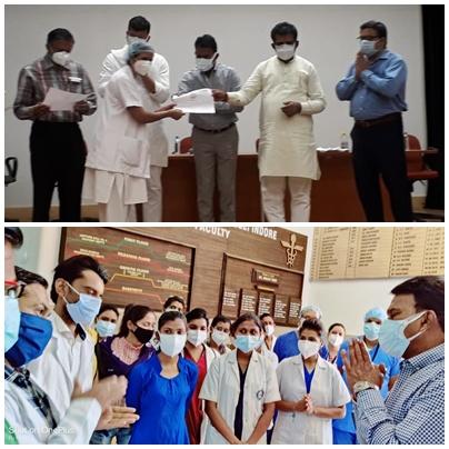 Nurse Indore News: संभागायुक्त व मंत्री सिलावट ने कोविड अस्पतालों में काम करने वाली नर्सों का किया सम्मान