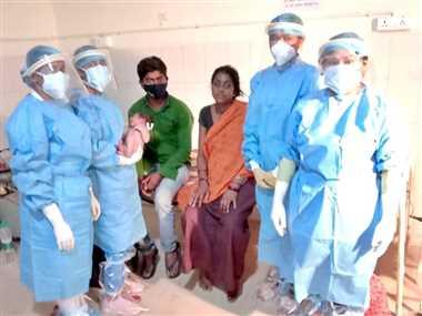 कोरोना संक्रमित गर्भवती महिला का कोविड हास्पिटल में हुआ प्रसव