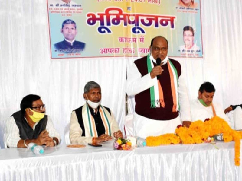 Bilaspur News: कोरबा में भूमिपूजन करते राजस्व मंत्री जयसिंह अग्रवाल ने कहा— आम लोगों की आर्थिक स्थिति सुधरी