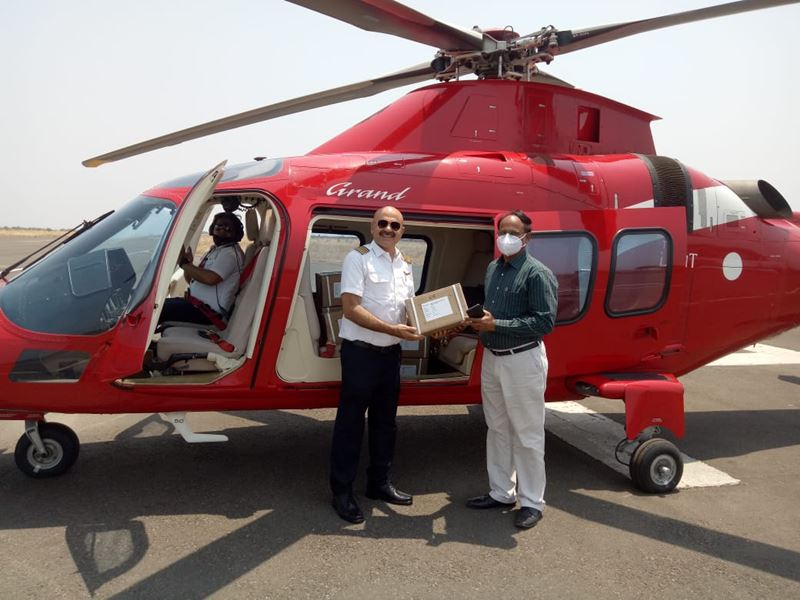 Remdesivir Injection in MP: विशेष हेलीकाप्टर रेमडेसिविर इंजेक्शन लेकर खंडवा और रतलाम पहुंचा