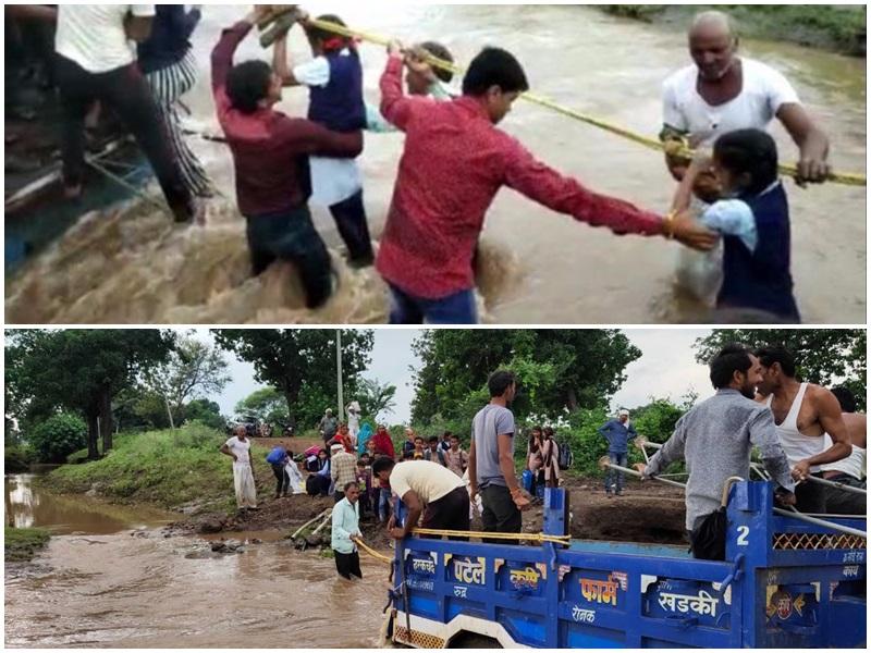 Video: खंडवा जिले में उफनते नाले के दूसरी ओर फंसे 50 स्कूली बच्चे और ग्रामीण, रस्सी के सहारे निकाला