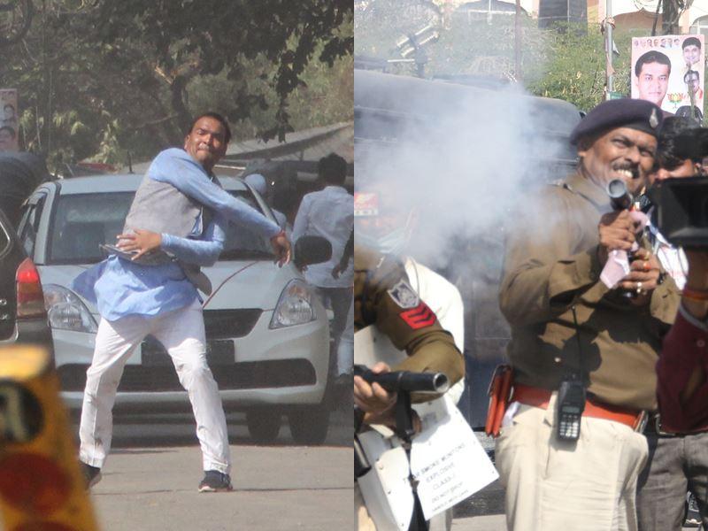 VIDEO: कांग्रेस के प्रदर्शन में पथराव से बिफरी पुलिस, पानी की बौछार व आंसू गैस के गोले छोड़