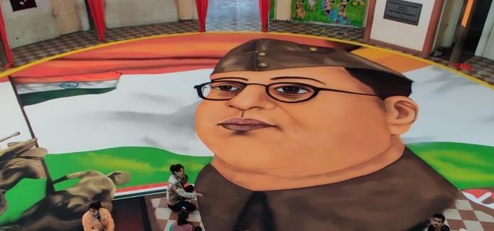 Indore News: बोस की 125वीं जयंती पर 15 घंटे में बनाई गई पराक्रम रंगोली