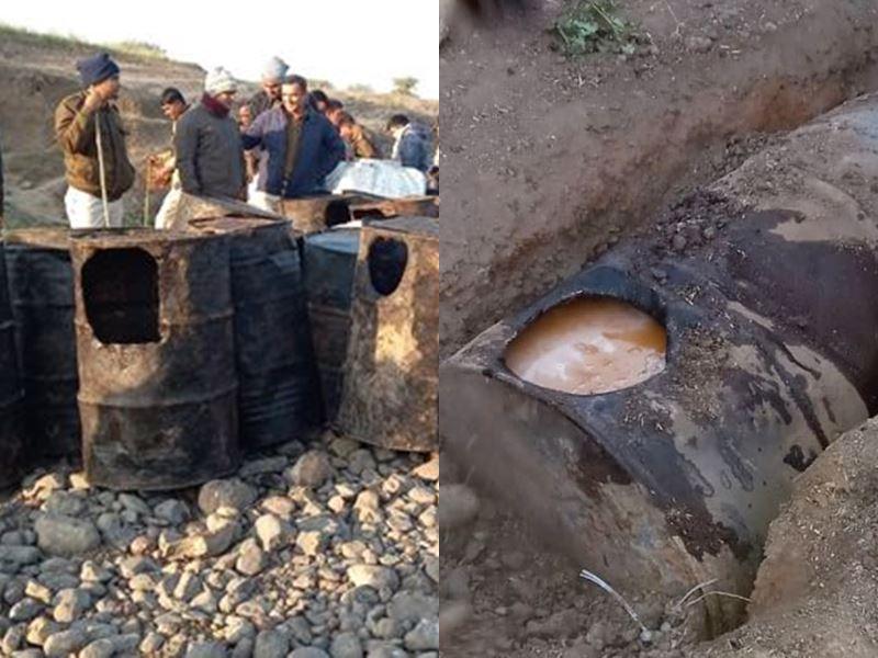 अशोकनगर में 100 ड्रम लाहन और दो हजार लीटर अवैध शराब जब्त