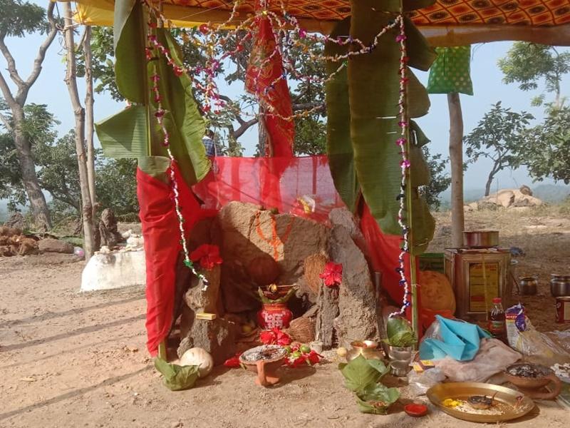 Korba News: पहाड़ी पर बिखरे थे प्राचीन मूर्तियों के अवशेष, सहेज कर ग्रामीणों ने बनाया देवालय, शुरू की पूजा