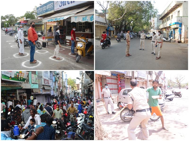 Coronavirus in Madhya Pradesh : चूने से बने गोले में खड़े हुए ग्राहक तब मिला सामान