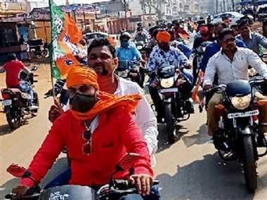 भाजपा प्रदेश अध्यक्ष विष्णुदेव साय के स्वागत में कार्यकर्ताओं ने निकाली बाइक रैली