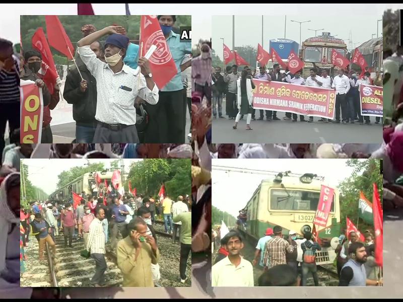 Bharat Band LIVE Updates: श्रम कानून के खिलाफ भारत बंद जारी, बंगाल में ट्रेनें रोकीं, देखिए फोटो