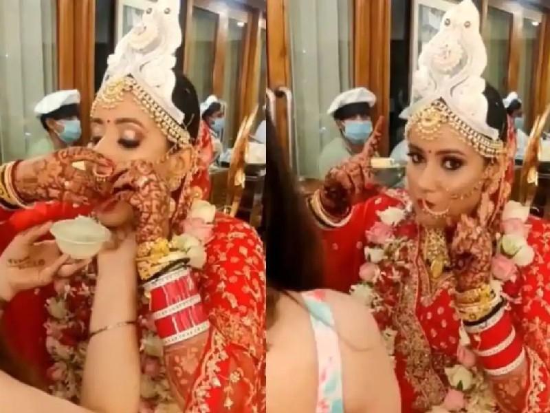 Viral Video: शादी के जोड़े में पानी पूरी के मजे ले रही थी दुल्हन, नाक की नथ बनी समस्या