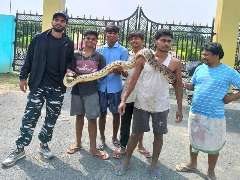 Ambikapur : वाटर पार्क में मिला सात फीट लंबा अजगर, युवकों ने पकड़कर वन विभाग को सौंपा