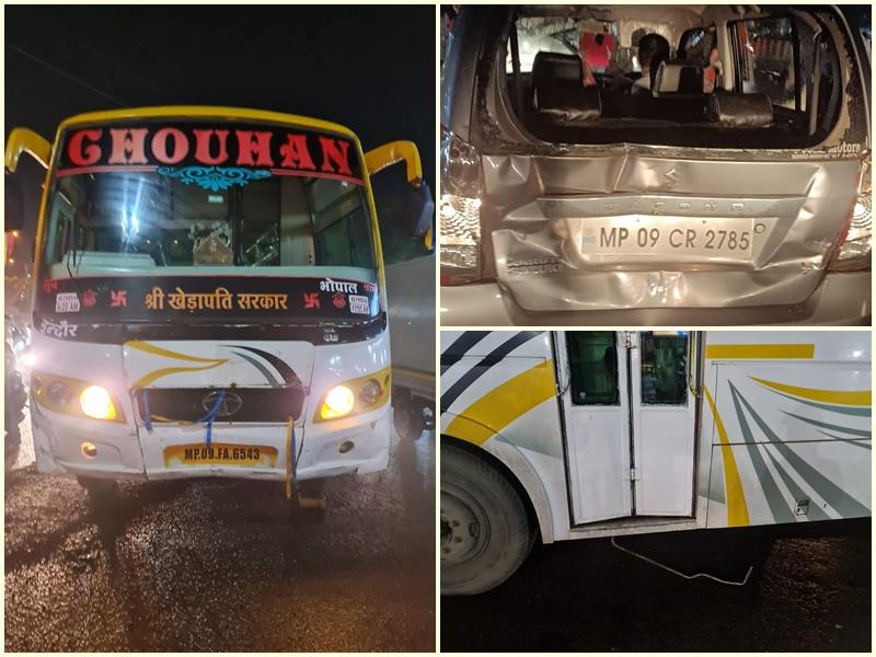 Indore News: कार में टक्कर लगी तो यात्रियों को छोड़ चलती बस से कूदकर भागा बस चालक
