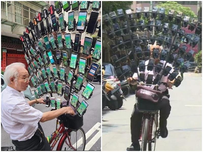 स्मार्टफोन पर गेम खेलने की ऐसी दीवानगी कि बुजुर्ग ने साइकिल पर लगवाए 64 मोबाइल
