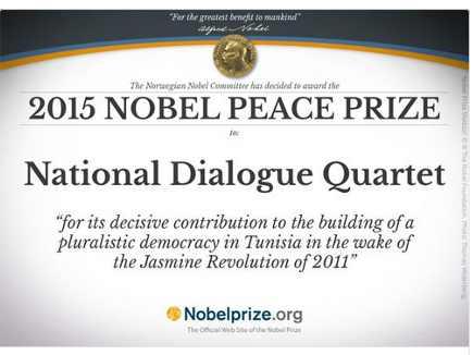 ट्यूनीशिया के नेशनल डायलॉग क्वाट्रेट को मिला नोबल शांति पुरस्कार